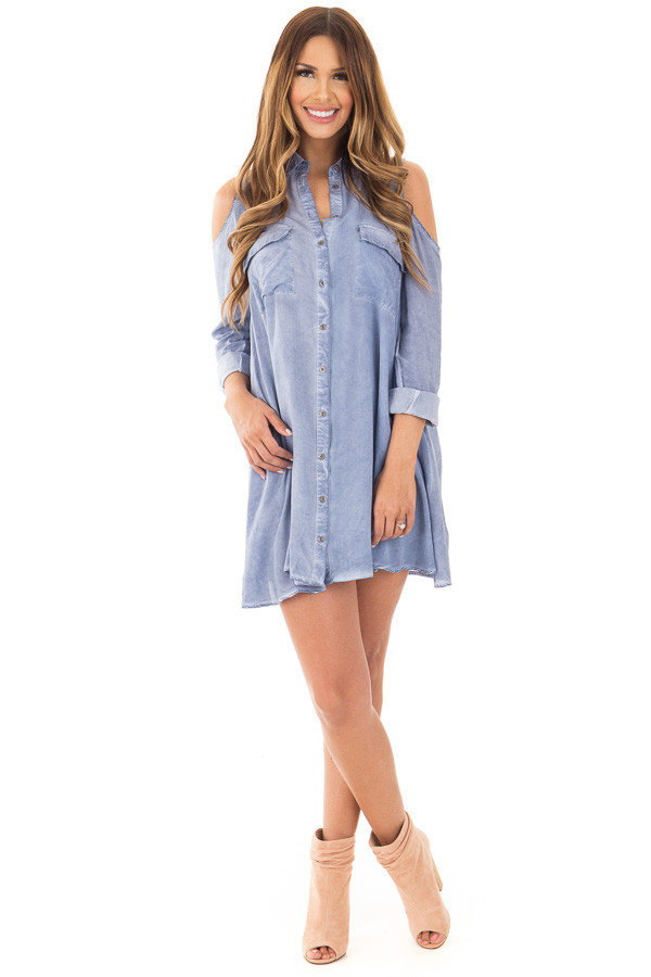 Denim Blue Long Sleeve Cold Shoulder Tunic with Front Pockets front full body