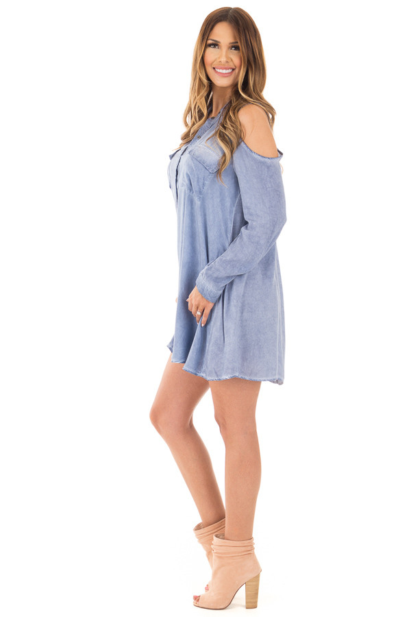Denim Blue Long Sleeve Cold Shoulder Tunic with Front Pockets side full body