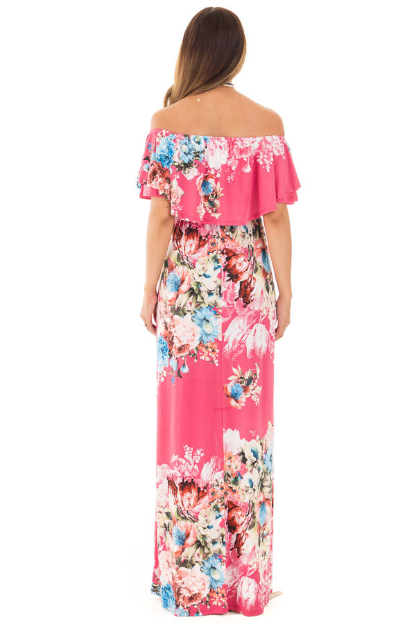 Rose Floral Print Off Shoulder Maxi Dress with Overlay Detail back full body