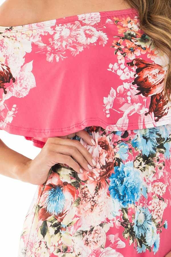 Rose Floral Print Off Shoulder Maxi Dress with Overlay Detail detail