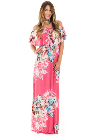 Rose Floral Print Off Shoulder Maxi Dress with Overlay Detail front full body