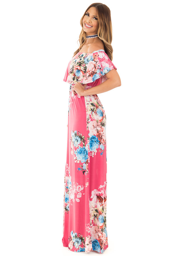 Rose Floral Print Off Shoulder Maxi Dress with Overlay Detail side full body