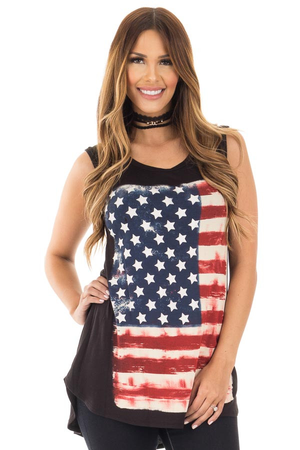Black Relaxed Tank with American Flag Graphic front close up