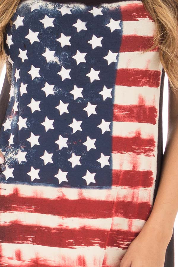 Black Relaxed Tank with American Flag Graphic detail