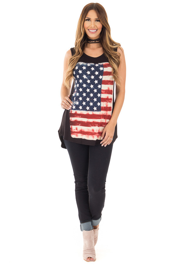 Black Relaxed Tank with American Flag Graphic front full body