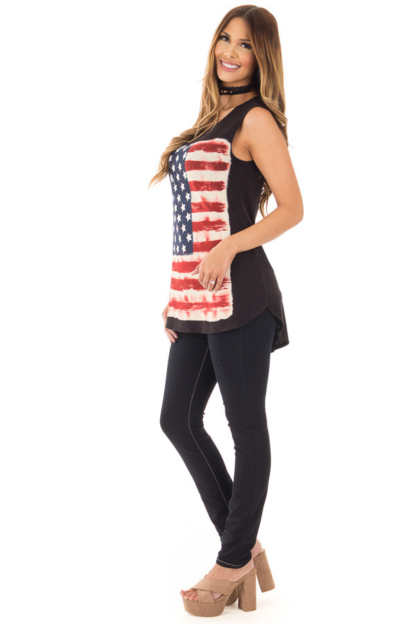 Black Relaxed Tank with American Flag Graphic side full body