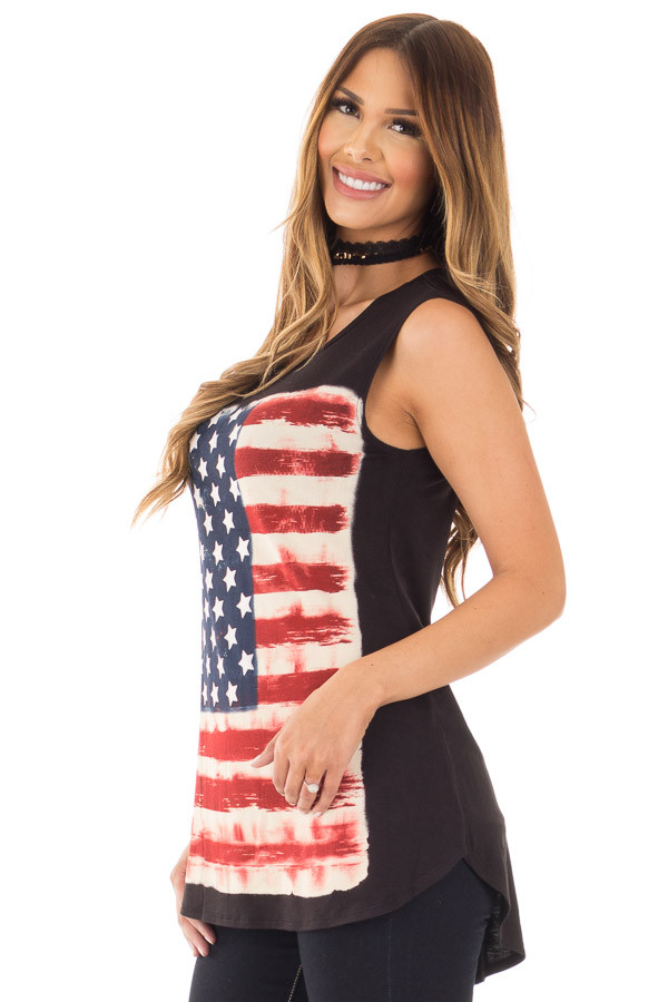 Black Relaxed Tank with American Flag Graphic side close up