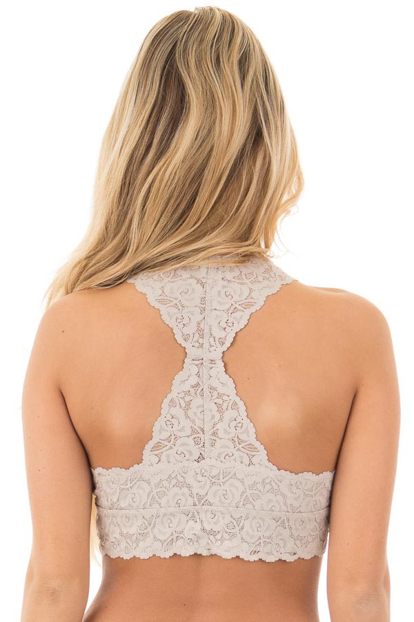 Cloud Grey Racerback Floral Lace Bralette back view