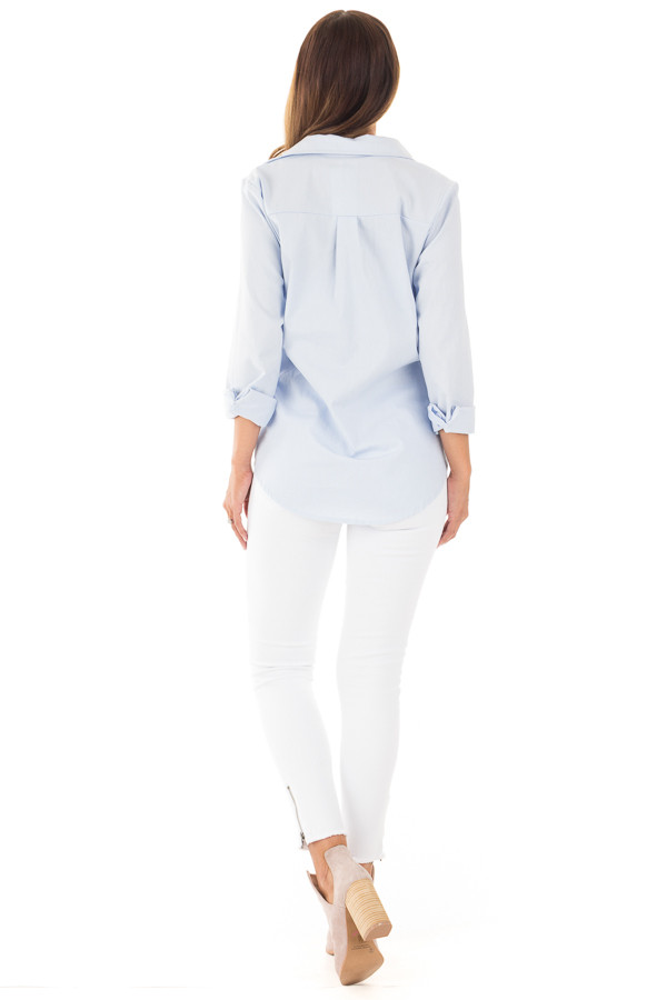 Light Blue Long Sleeve Tied Up Top back full body