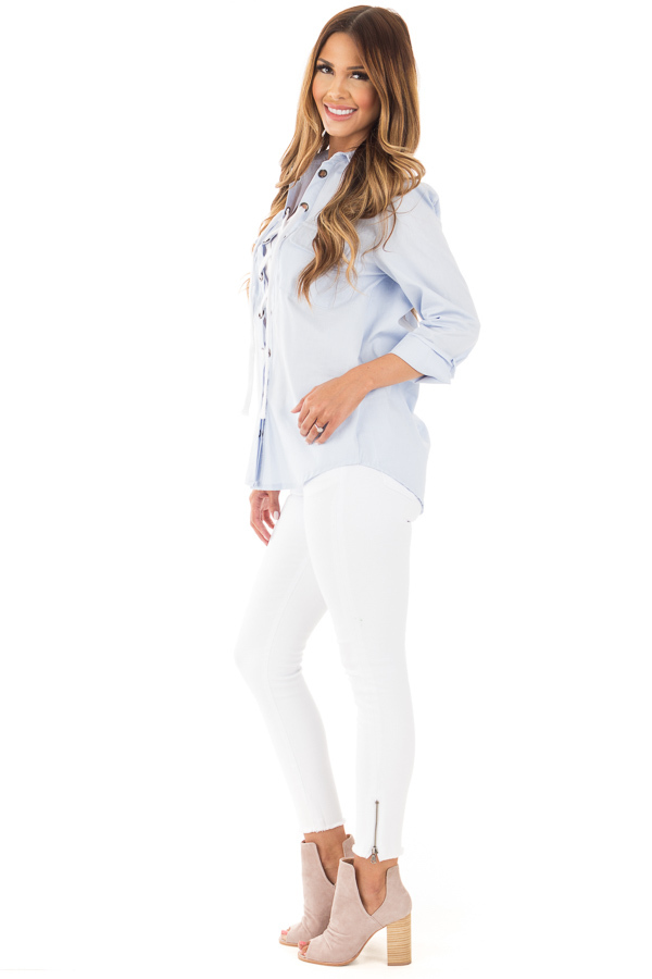 Light Blue Long Sleeve Tied Up Top side full body