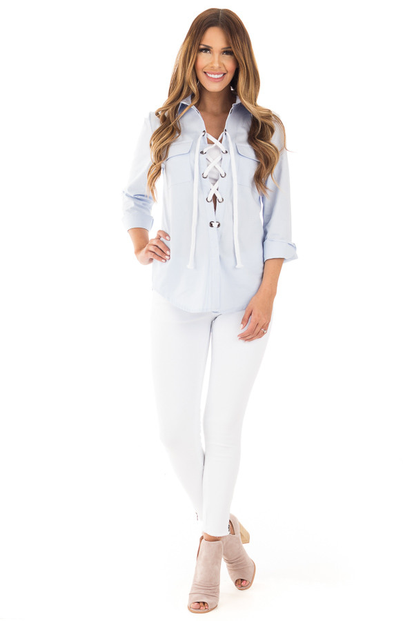 Light Blue Long Sleeve Tied Up Top front full body
