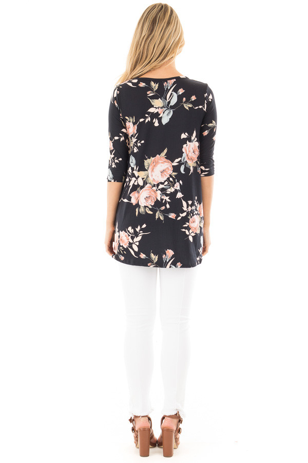 Black Floral Print  Tunic Top with Criss Cross Neckline back full body