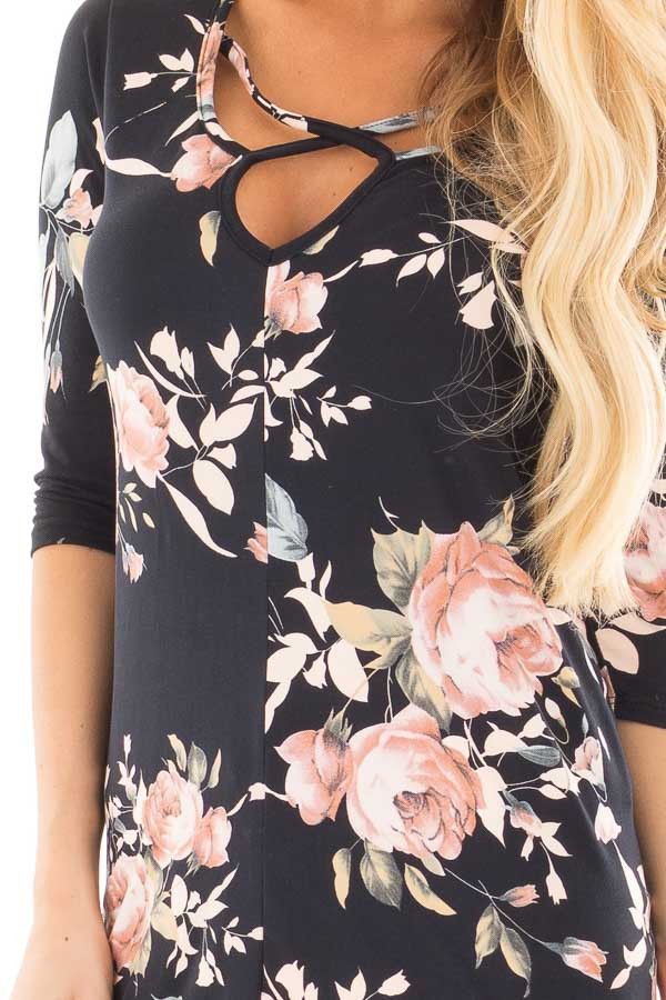Black Floral Print  Tunic Top with Criss Cross Neckline detail