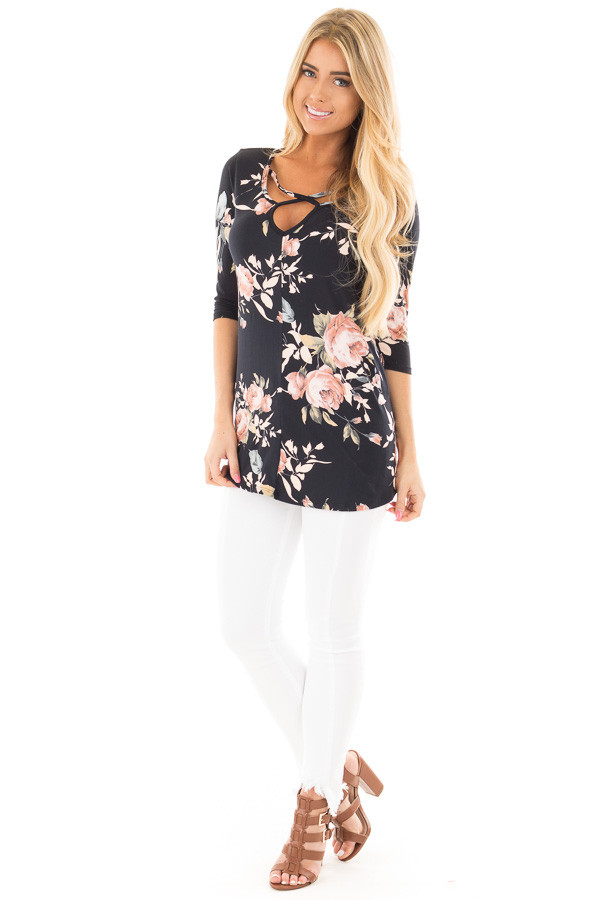 Black Floral Print  Tunic Top with Criss Cross Neckline front full body