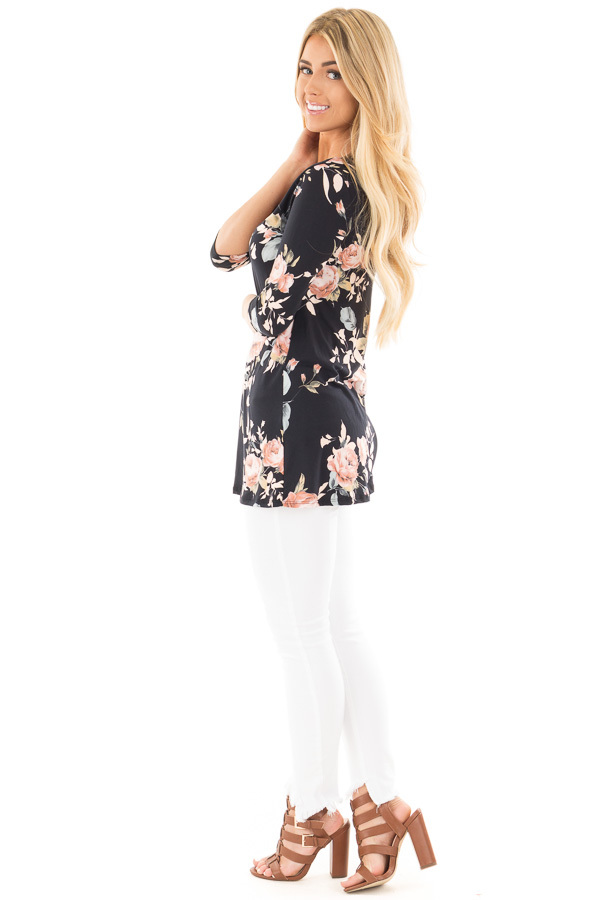 Black Floral Print  Tunic Top with Criss Cross Neckline side full body