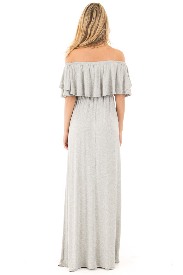 Heather Grey Off Shoulder Maxi Dress with Overlay Detail detail