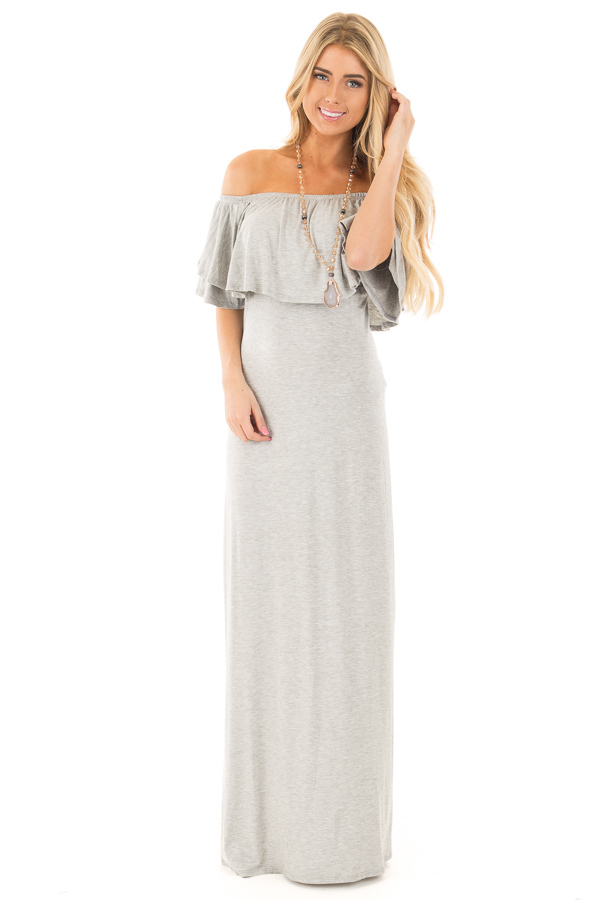 Heather Grey Off Shoulder Maxi Dress with Overlay Detail front full body