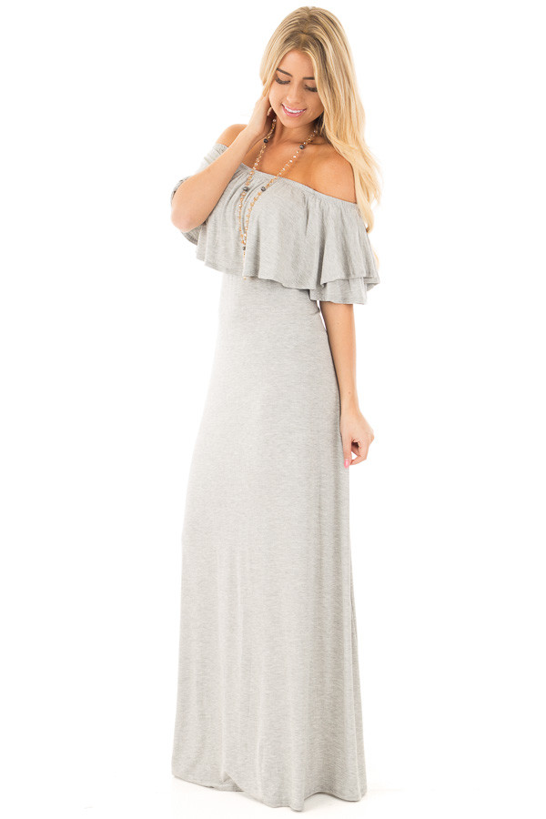 Heather Grey Off Shoulder Maxi Dress with Overlay Detail side full body