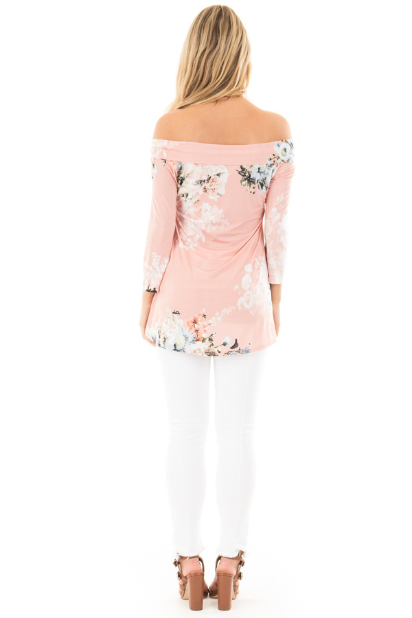 Dusty Pink Floral Print Off Shoulder Cross Over Top back full body