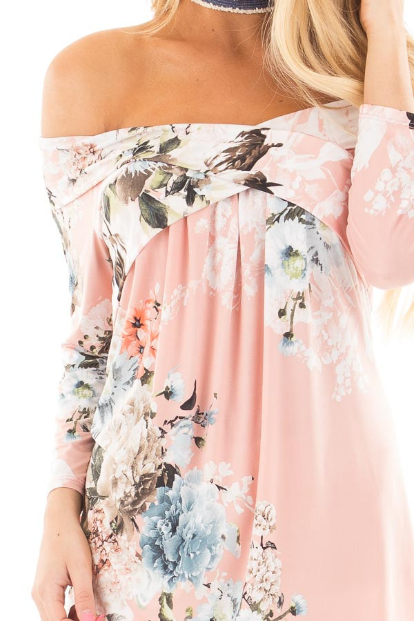 Dusty Pink Floral Print Off Shoulder Cross Over Top detail