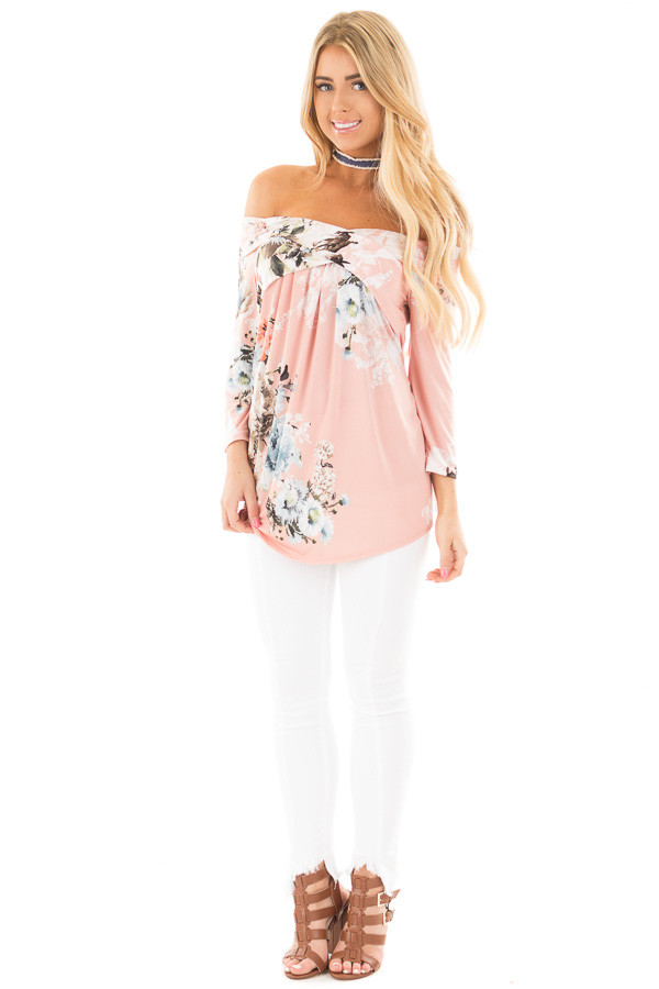 Dusty Pink Floral Print Off Shoulder Cross Over Top front full body