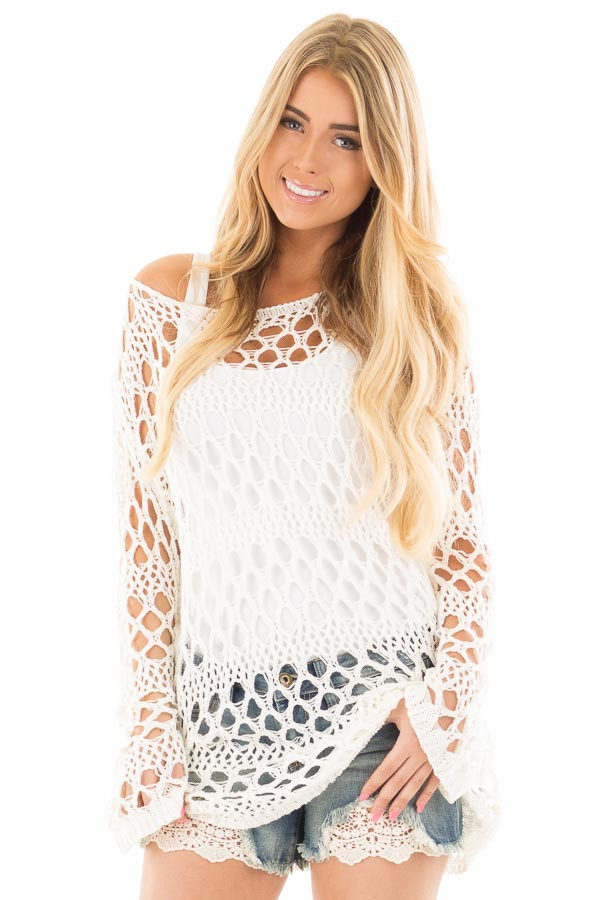 Cream Sheer Crochet Knit Tunic Top front close up