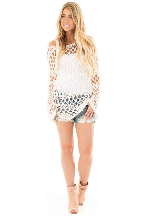 Cream Sheer Crochet Knit Tunic Top front full body