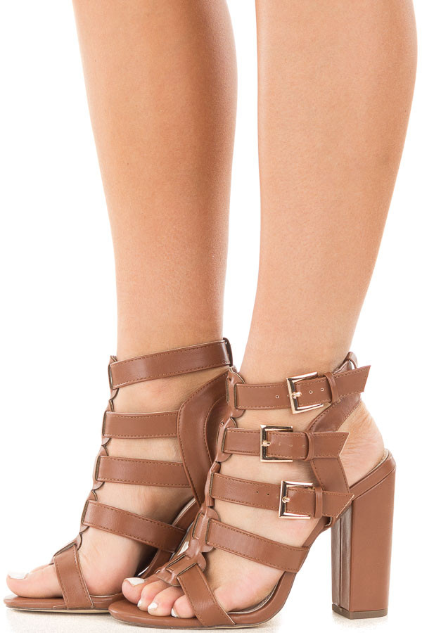 Cognac Strappy Open Toe Heel with Buckle Details side view