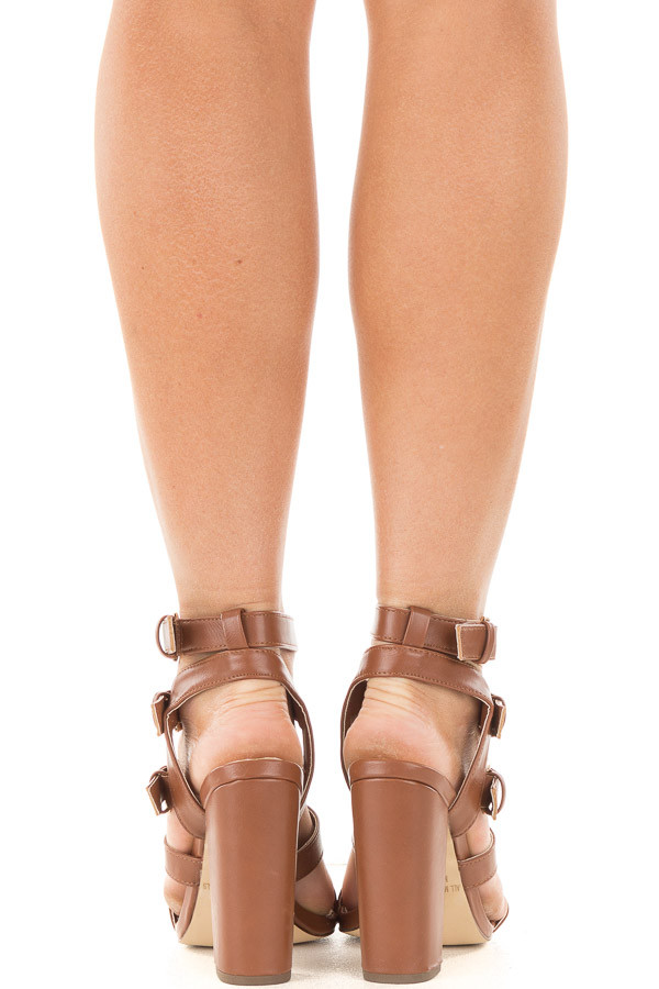 Cognac Strappy Open Toe Heel with Buckle Details back view