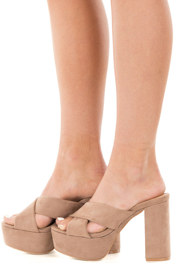 Taupe Faux Suede Criss Cross Platform Heel Sandal side view