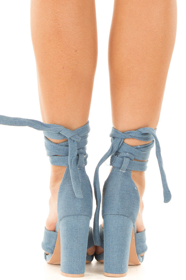 Denim Open Toe Heel with Ankle Tie Detail back view