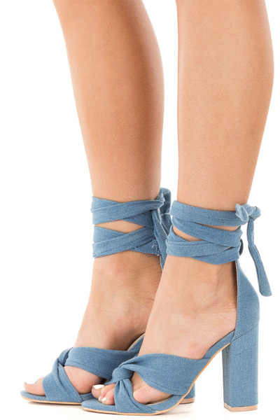 Denim Open Toe Heel with Ankle Tie Detail side view