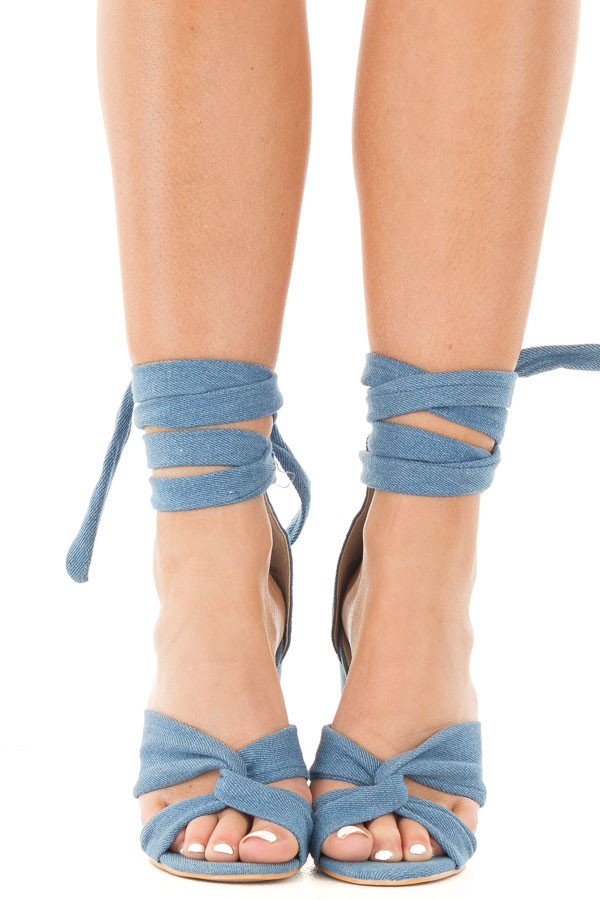 Denim Open Toe Heel with Ankle Tie Detail front view