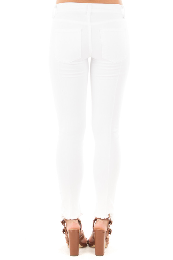 White Skinny Jeans with Seam Details and Frayed Hem back view