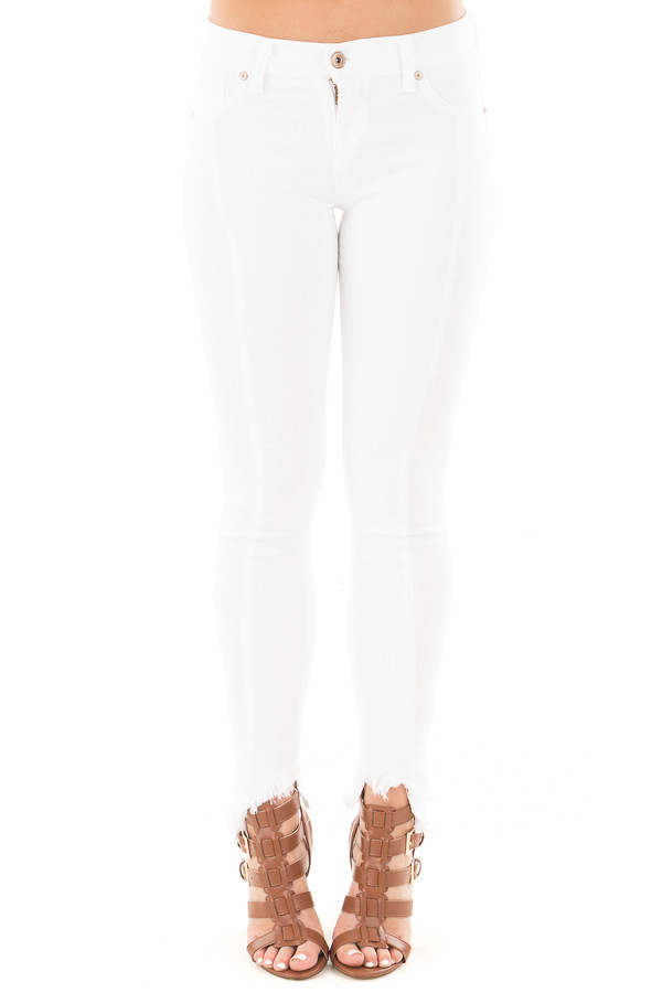 White Skinny Jeans with Seam Details and Frayed Hem front view