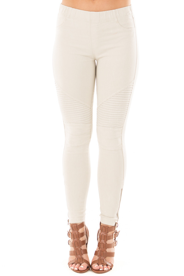 Light Grey Moto Jeggings with Side Zipper Detail front view