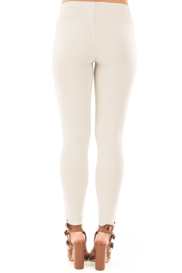 Light Grey Moto Jeggings with Side Zipper Detail back view