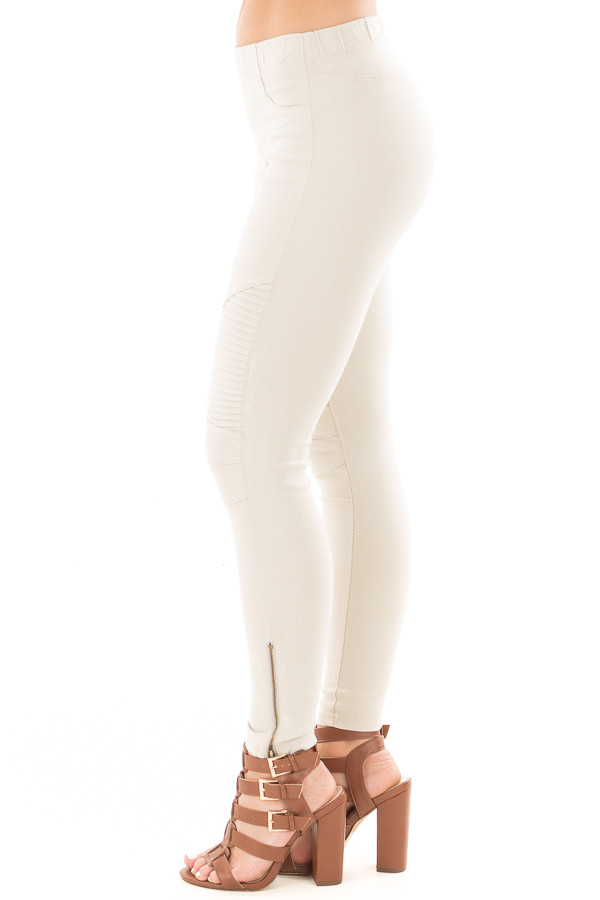 Light Grey Moto Jeggings with Side Zipper Detail side left leg