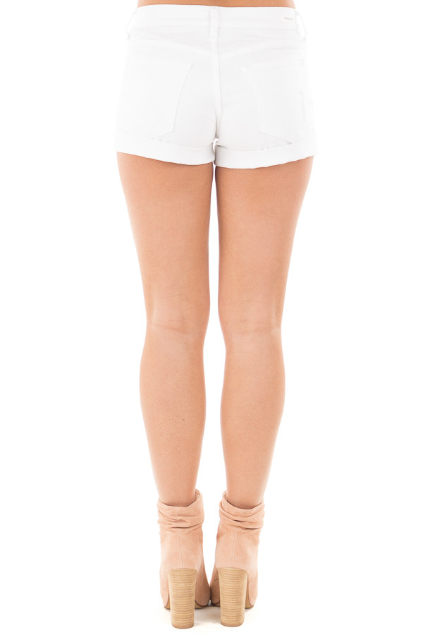 White High Rise Distressed Denim Shorts with Cuffed Hem back view