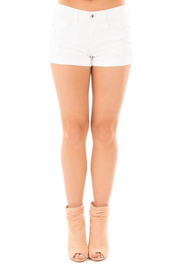 White High Rise Distressed Denim Shorts with Cuffed Hem front view