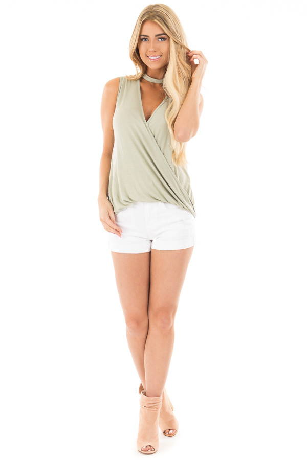 White High Rise Distressed Denim Shorts with Cuffed Hem front full body