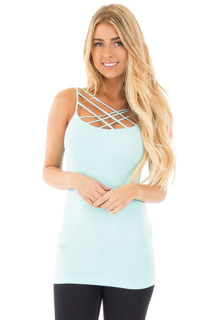 Island Paradise Blue Criss Cross Strappy Camisole front close up
