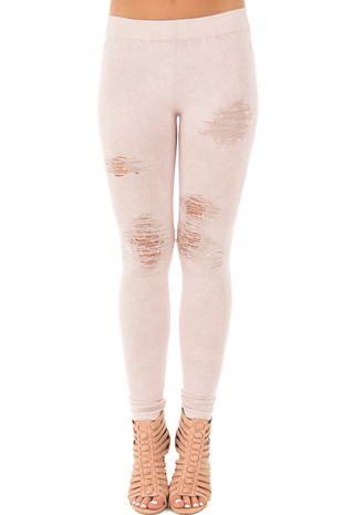 Rose Quartz Vintage Destroyed Jeggings front view