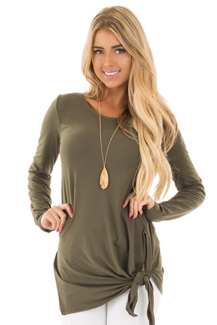 Olive Soft Knit Long Sleeve Top with Tie Detail in Front front close up