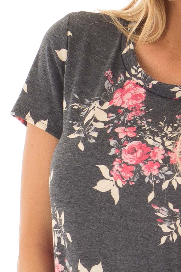 Charcoal and Rose Floral Print Short Sleeve Tee detail