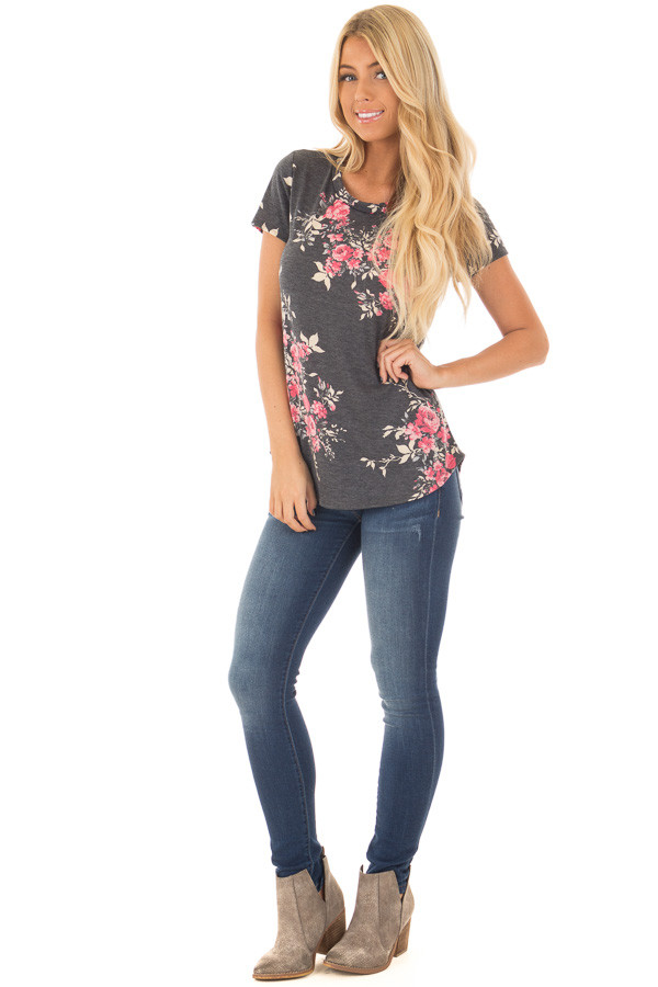 Charcoal and Rose Floral Print Short Sleeve Tee front full body