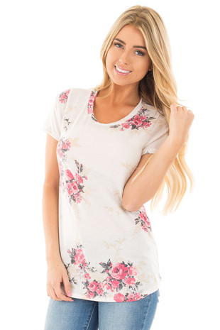 Ivory and Rose Floral Print Short Sleeve Tee front close up