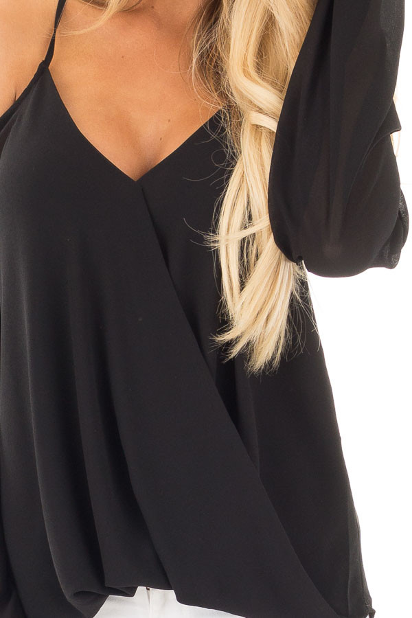 Black Wrap Style Open Shoulder V Neck Blouse detail