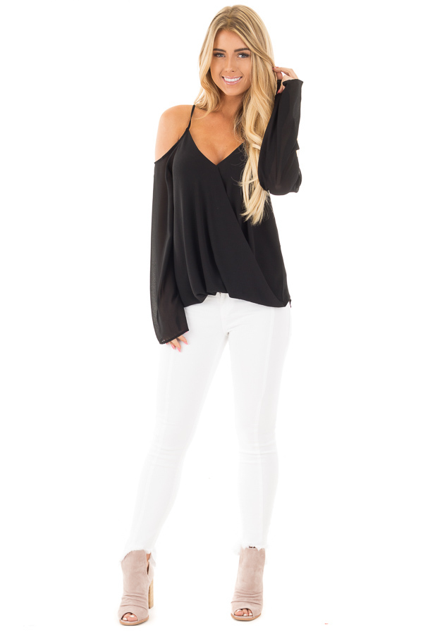 Black Wrap Style Open Shoulder V Neck Blouse front full body