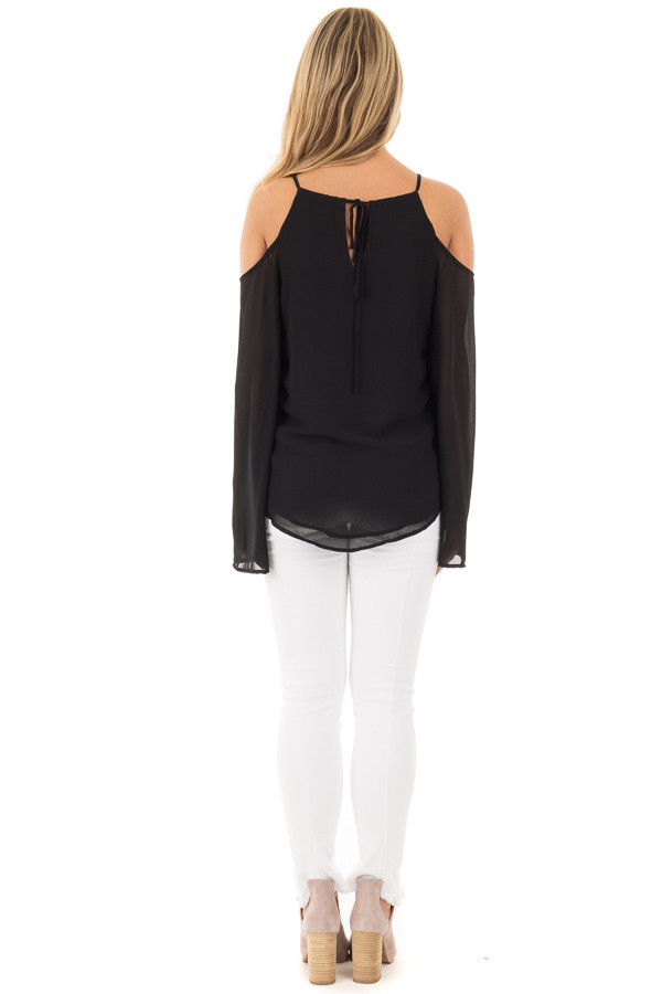 Black Wrap Style Open Shoulder V Neck Blouse back full body